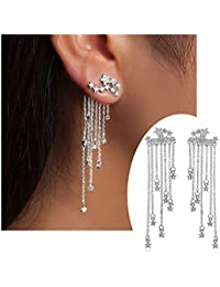 Fashion Star Crystal Dangle Earrings for Women Gold...