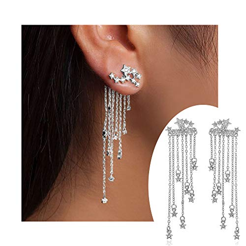 palettei Fashion Star Crystal Dangle Earrings for Women Gold Silver Color Front Back Hanged Long Tassel Earings Bohemian Jewelry (Silver) -