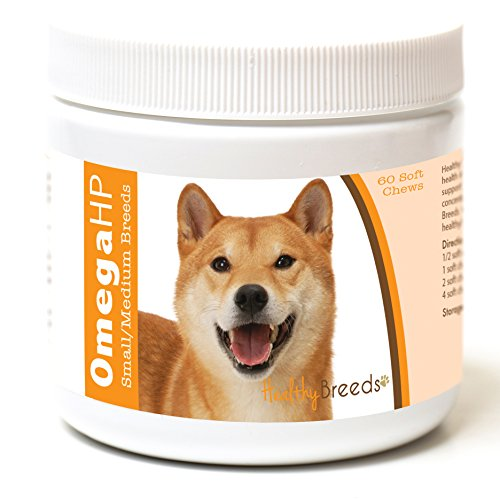 Healthy Breeds Omega 3 Skin and Coat Supplement for Dogs for Shiba Inu - Over 100 Breeds - EPA & DHA Fatty Acids - Small & Medium Breed Formula - 60 Count