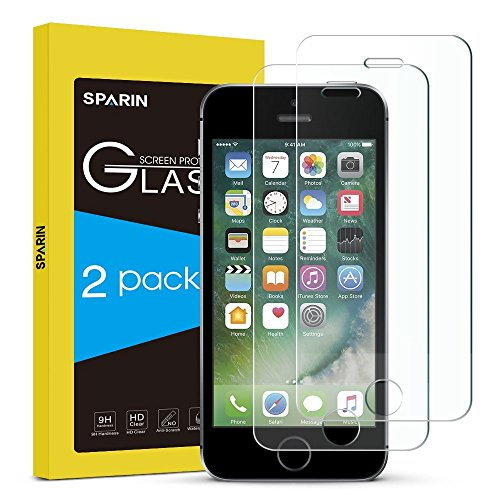 Price comparison product image SPARIN [2 Pack] iPhone SE Screen Protector,Tempered Glass Screen Protector for iPhone SE / 5S / 5C / 5 with [ Anti-Scratch ] [ Crystal Clear ]