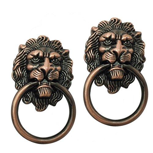 Brass Small Head Lion Knob (Dolity 2x Brass Handles Decorative Lion Head Knob Dresser Drawer Door Pull - Copper)