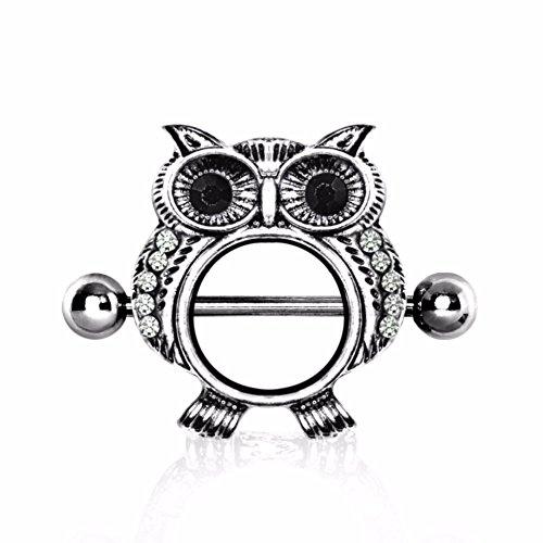 WildKlass Jewelry 316L Surgical Steel Jeweled Owl Nipple Shield