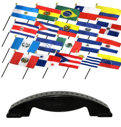 Moon Knives 4x6 Latin American Country 20 Desk Set Table Stick Flags w/20 Hole Base Stand - Party Decorations Supplies for Parades - Prime Outside, Garden, Men Cave Decor Flag by Ant Enterprises