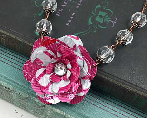 TaB Pink Rose and Crystal Bead Necklace. Recycled Soda Can Art. TaB Coca Cola ()