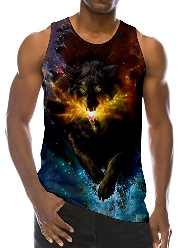 RAISEVERN 3D Wolf in Fire Print Funny Pattern Realistic Underwaist Gym Tank Tops for Men,Fire Wolf,X-Large - Europe Girls T-shirt