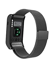MoKo Watch Band for Garmin Vivoactive HR, Milanese Loop Stainless Steel Mesh Replacement Bracelet Strap for Vivoactive HR Sports GPS Smart Watch with Unique Magnet Lock, No Buckle Needed, Black