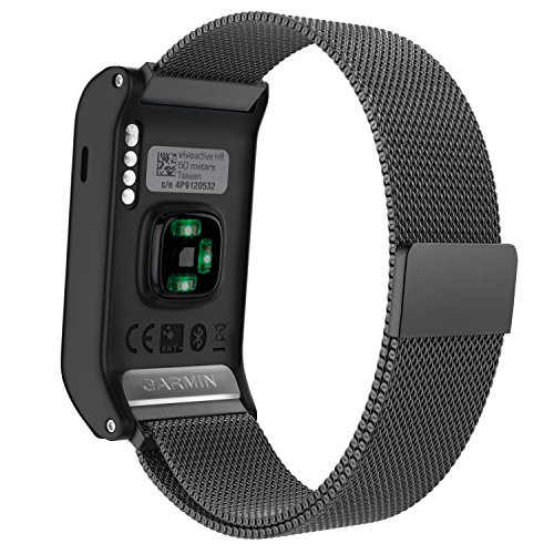 Garmin Vivoactive HR Watch Band, MoKo Milanese Loop Stainless Steel Mesh Replacement Bracelet Strap for Vivoactive HR Sports GPS Smart Watch with Unique Magnet Lock, No Buckle Needed, Black by MoKo