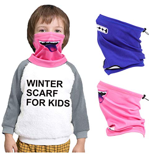 2 Pack Winter Kids Face Covering Neck Gaiters, Face Scarf for Child for Cold Weather, Breathable Cartoon Pattern Seamless Bandanas for Halloween for Outdoors/Fishing/Hiking/Running/Cycling, Blue+Pink