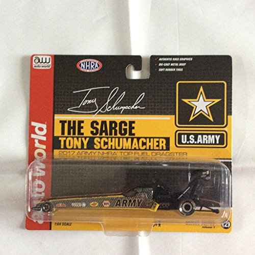 Tony Schumacher 2017 - US Army Top Fuel Dragster in Black and Yellow with US Army Logo, Auto World National Hot Rod Association Release 1 -