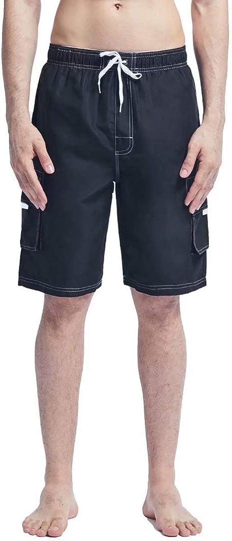 HMIYA Mens Swim Trunks Quick-Drying Beach Shorts with Mesh Lining Pockets Adjustable Drawstring