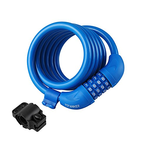 Titanker Bike Lock Cable, 6-Feet Bike Cable Basic Self Coiling Resettable Combination Cable Bike Locks with Complimentary Mounting Bracket, 6 Feet x 1/2 Inch (Blue)