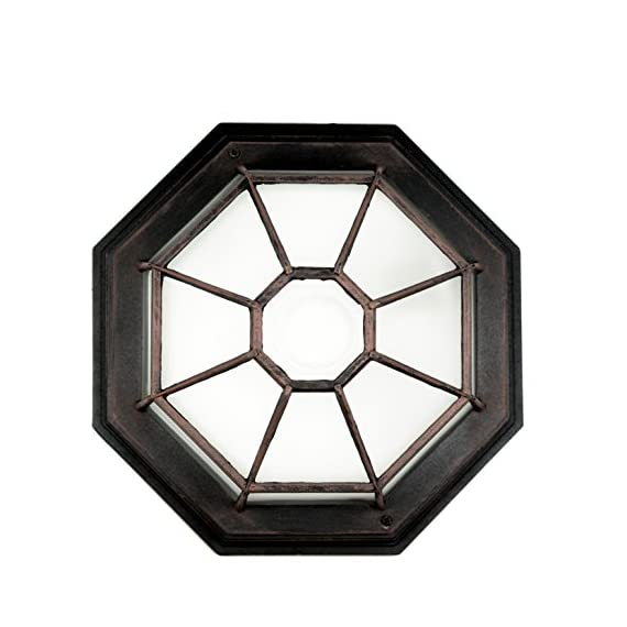 "Trans Globe Lighting 40582 RT Outdoor Benkert 5"" Flushmount Lantern, Rust, 5-Inch, - Wagon wheel metal frame with Frosted Glass shade Matching energy efficient item available Multiple finish options to choose from - patio, outdoor-lights, outdoor-decor - 51MfubmGWeL. SS570  -"