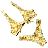 RUUHEE Women Floral Printed V Style Bottom Bow-Knot Bikini Top Bathing Suits 2 Piece Swimsuit (S(US Size 2-4), Yellow)