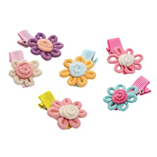 Kanggest - Clip di capelli per bambini, a forma di fiore multicolore, 6 pezzi