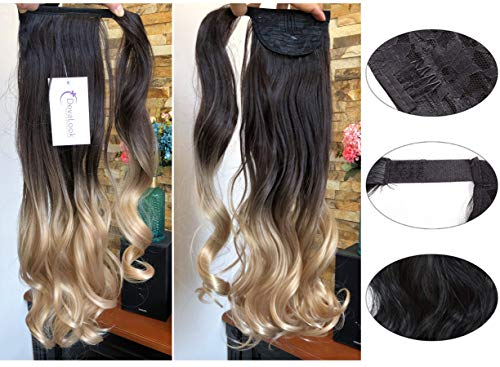 22quot Long One Piece Curly Wavy Clip in Wrap around Ombre Ponytail 105grams 22quot WavyDark brown to warm blonde