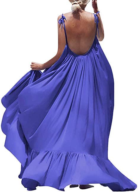 Ruffle-Hem Sleeveless Maxi Dress Straps V-Neck With This Flattering Dress Boasting A Comfy,Stretch-Enhanced Material And Elegant Made in USA