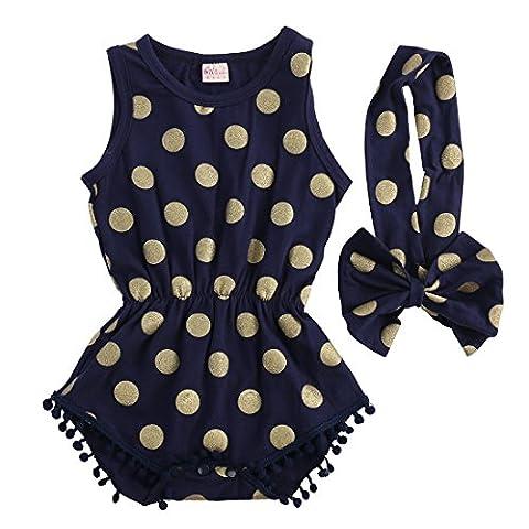 Baby Girl Clothes Gold Dots Bodysuit Romper Jumpsuit One-pieces Outfits Set (6-12 Months, Navy (7 Dots Studio)