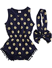 Baby Girl Clothes Gold Dots Bodysuit Romper Jumpsuit...