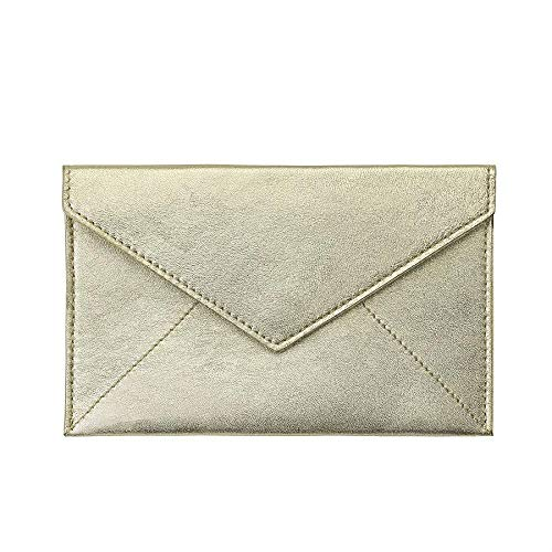 White-Gold Metallic Luxe Leather Photo Envelope Medium by Graphic ImageTM -