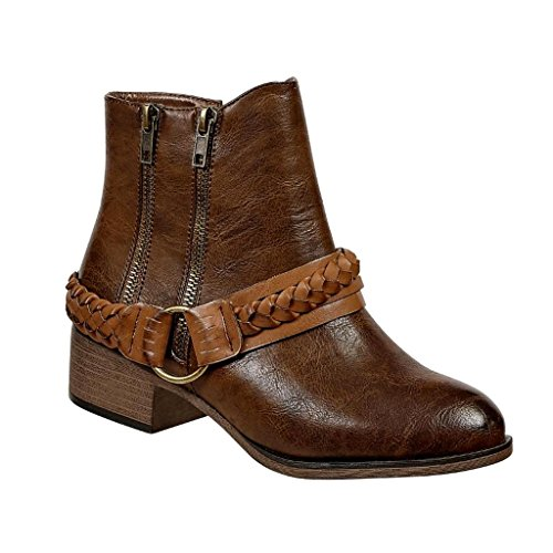 Pierre Dumas Tabby-1 Women's Vegan Leather Decorative Braided Straps Zippers Ankle Boots Booties (9 B(M) US, Brown Combo) ()