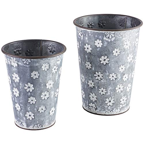 Flower Print Design Galvanized Silver 9 inch Iron Metal Buckets Set of 2 -