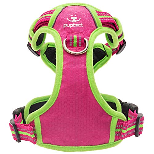 PUPTECK No Pull Dog Harness - Front/Back 2 Metal Rings - 3M Reflective Oxford Material with Soft Handle for Pet Easy Control - Adjustable for Medium Large Dog Walking