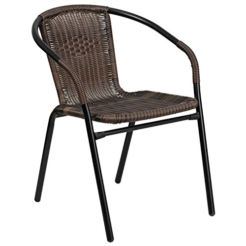 Flash Furniture Dark Brown Rattan Indoor-Outdoor Restaurant Stack Chair (Plastic Patio Arm Chair)