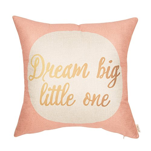 Fjfz Dream Big Little One Motivational Sign Inspirational Quote Cotton Linen Home Decorative Throw Pillow Case Cushion Cover Sofa Couch, Blush Pink and Gold, 18