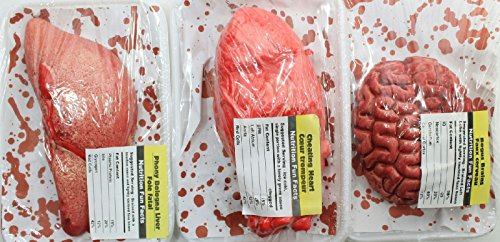 fake organs halloween decorations liver heart brains meat package bloody creepy - Bloody Halloween Decorations