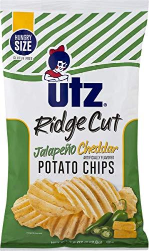 (Utz Bacon Cheddar or Jalapeno Cheddar Ridge Cut Potato Chips- 7.5 oz. Hungry Size Bags (Jalapeno Cheddar, 4 Bags))