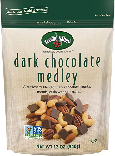 Second Nature Dark Chocolate Medley Trail Mix 12 oz Resealable Pouch - A Nut Lover's Blend of Dark Chocolate Chunks, Almonds, Cashews and Pecans - Non GMO Project Verified