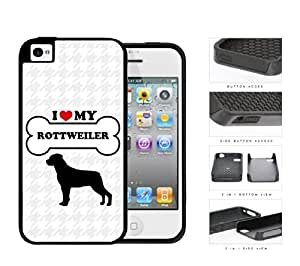 I Love My Dog Series 2-Piece Dual Layer High Impact Black Silicone Cover Case Apple iPhone 4 4s (Rottweiler)