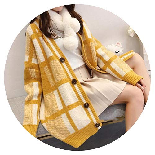 Newmarket Jacket (Qounfhy Women Korean Cardigans V Neck Button Up Plaid Ponchoses Loose Sweater Knit Coats,Yellow,One Size)