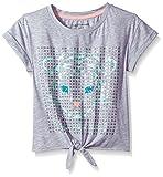 Calvin Klein Big Girls' Sequin Tie Front Tee, Light Grey Heather, Large (12/14)