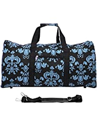 World Traveler 22 Inch Duffle Bag, Black Blue Damask, One Size
