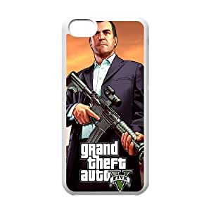 iPhone 5c Cell Phone Case White GTA 5 Michael Holding A Rifle JNR2022925