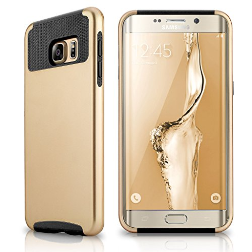 Shockproof Hybrid Case for Samsung Galaxy S6 Edge (Black/Gold) - 1