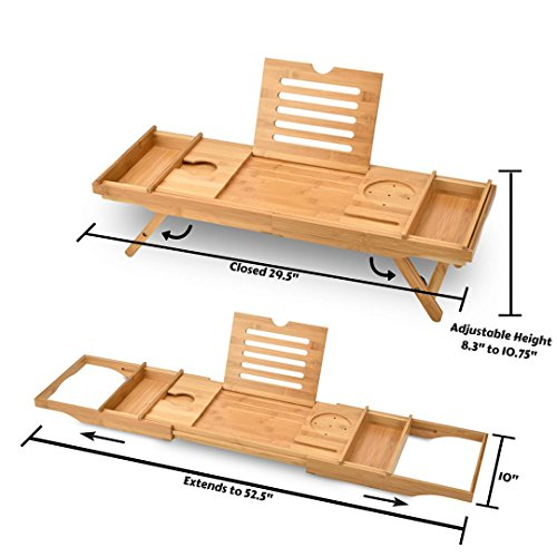 Bed Table & Bathtub Tray -- Combines bamboo bath tub caddy for relaxation and bed tray for productivity into 1 -- Luxurious bathtub caddy for bath accessories wine glass book iPad phone and laptop