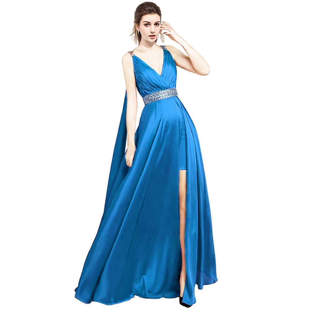 bluee IVYPRECIOUS Backless V Neck A Line Evening Dress Side Split Long Cape with Crystal Formal Prom Gown