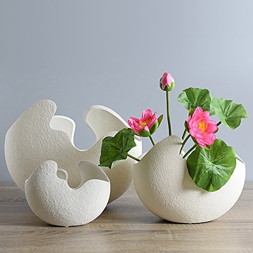 LOHOME White Eggshell Shape Hydroponic Plant Vase - Modern Simple Ceramic Decoration for Art of Flower Arranging - Soil Cultivating Plant Flowerpot - 2 Pieces (Small Size+Medium Size)