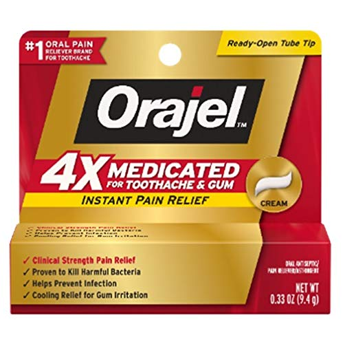Orajel 4X Strength Toothache & Gum Relief Cream, 0.33 Oz (Packaging May Vary)