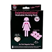 Bamboobies Washable Reusable Nursing Pads with Leak-Proof Backing for Breastfeeding, Ultra Thin, 12 Count