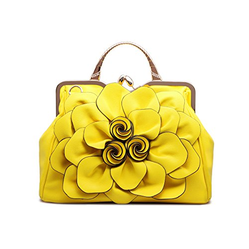 [Celsino Women Handbag Tote Purse Shoulder Bag Flower PU Leather Crossbody Top Handle Bags Yellow] (Yellow Purses)