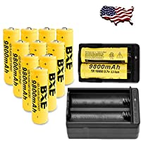 10X BXE 18650 Battery 9800mAh Li-ion 3.7V Rechargeable Batteries
