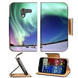 Aurora Borealis Nature Scenery Landmark Motorola Moto X Flip Case Stand Magnetic Cover Open Ports