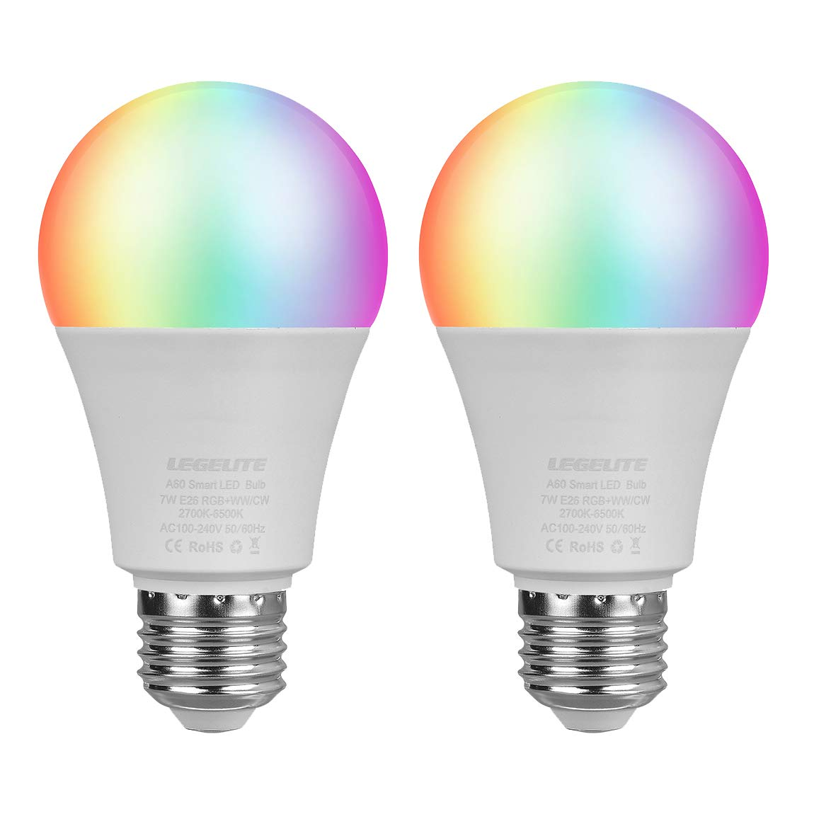 LED WiFi Smart Light Bulb, E26 WiFi Light Bulb Works with Amazon Alexa Google Home and IFTTT, RGBCW Color Changing, Cool White and Warm White Dimmable, No Hub Required, A19 60W Equivalent (2 Pack)
