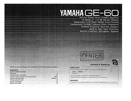 Yamaha GE-60 Equalizer Owners Instruction Manual Reprint -