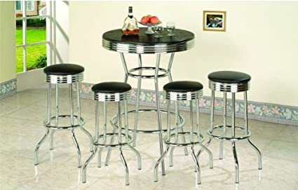 5 Piece Retro Black Bistro Table U0026 Pub Set With 4 Barstools