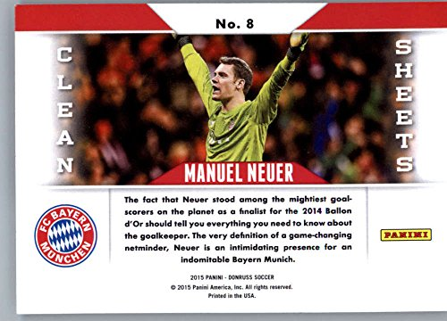 Amazon.com: Manuel Neuer 2015 Donruss Clean Sheets #8 MINT Soccer Soccer: Collectibles & Fine Art