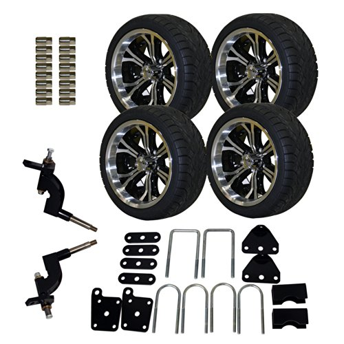Pro-Fit 750511PKG 215/35 to 14-Inch Backlash X Tire with Machined Black Optimus Wheel Package and Lift Kit Combo for RXV, 5-Inch (Golf Carts Rims compare prices)